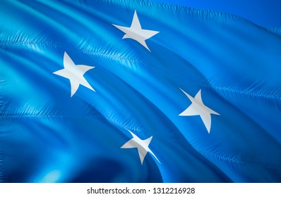 Micronesia flag. 3D Waving flag design. The national symbol of Micronesia, 3D rendering. Micronesia 3D Waving sign design. Waving sign background wallpaper. 3D pattern background download HD