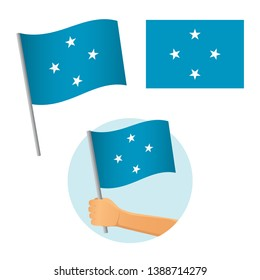Micronesia flag in hand. Patriotic background. National flag of Micronesia  illustration