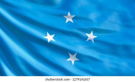 Micronesia flag. Waving flag of Micronesia 3d illustration. Palikir