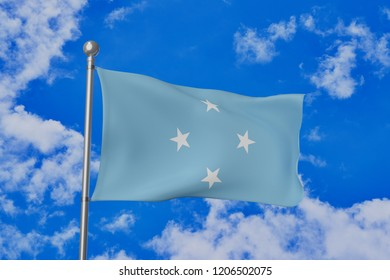 Micronesia Islands national flag waving isolated in the blue cloudy sky realistic 3d illustration