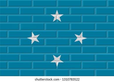 Micronesia painted flag. Patriotic brick flag illustration background. National flag of Micronesia