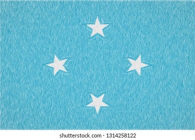 Micronesia painted flag. Patriotic drawing on paper background. National flag of Micronesia