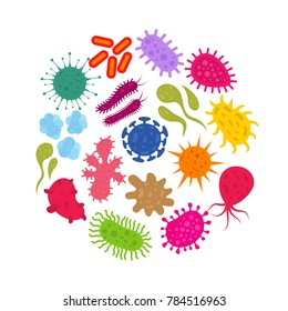 Microorganism and primitive infection virus. Bacteria and germs icons. Virus infection, illustration of microorganism bacteria