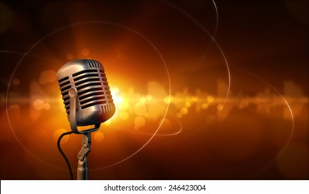 Microphone and abstract background