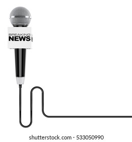 Microphone with Breaking News Box Sign and Free Space for Your Text on a white background. 3d Rendering