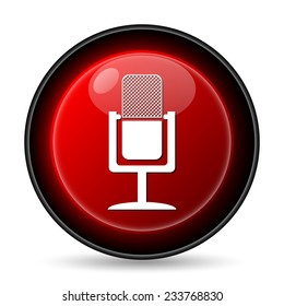 Microphone icon. Internet button on white background.