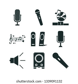 microphone icon set. love music icon and speaker icon  icons.