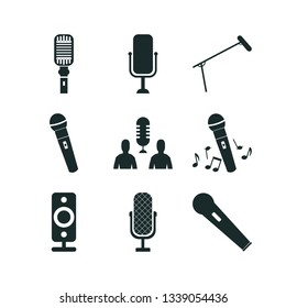 microphone icon set. speaker icon and audio conference icon business  icons.