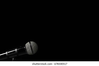 Microphone on dark background. Close up of microphone. Classic microphone. 3D rendering.