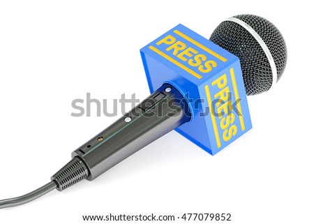 microphone press, 3D rendering isolated on white background