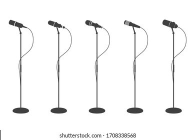 Microphone silhouettes. Standing microphones audio equipment. Concept and karaoke music mics isolated collection