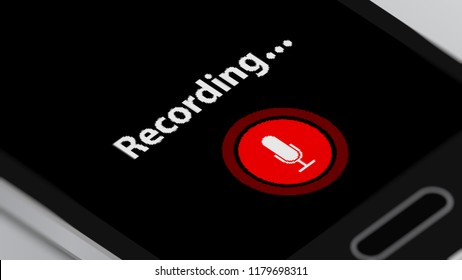 Microphone Symbol on Smart Phone. Voice Recording App. 3D illustration.