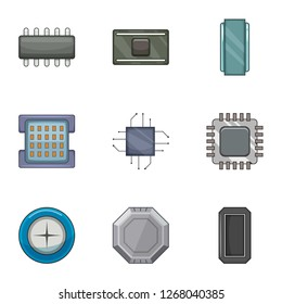 Microprocessor chip icons set. Cartoon set of 9 microprocessor chip icons for web isolated on white background