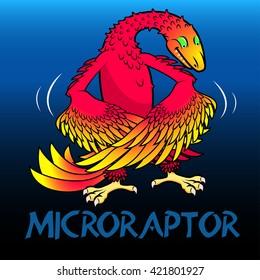 Microraptor cute character dinosaurs .