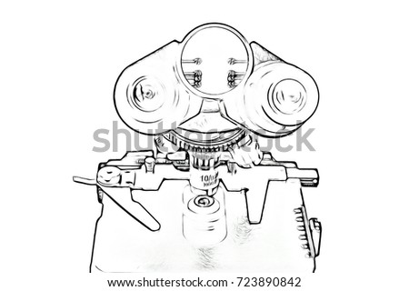 Microscope On White Background Image Closeup Stock Illustration