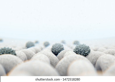 A microscopic close up view of a simple woven textile and a visible germ particle  - 3D render
