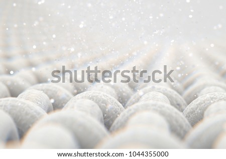 A microscopic close up view of a simple woven textile and visible  airborne dust particles  - 3D render