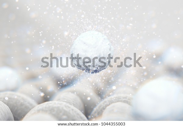 A microscopic close up view of a simple woven textile and a visible white soap detergent powder particle  - 3D render