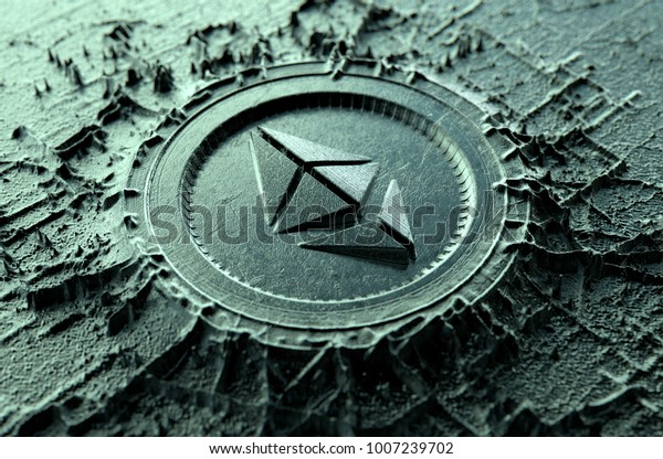 A microscopic closeup concept of cast or mined metal that builds up to form a physical ethereum classic cryptocurrency symbol - 3D render