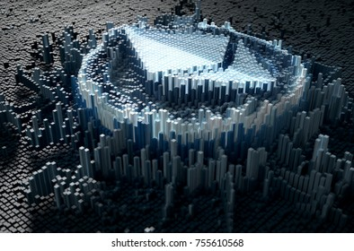 A microscopic closeup concept of small cubes in a random layout that build up to form the ethereum symbol illuminated - 3D render