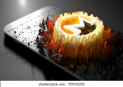 A microscopic closeup concept of small cubes in a random layout that build up to form the monero symbol illuminated on a generic smartphone - 3D render