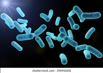 Microscopic illustration of bacteria, model of bacteria, realistic illustration of microbes, Escherichia coli, Klebsiella, Salmonella, Clostridium, Pseudomonas, Mycobacterium, Shigella, Legionella