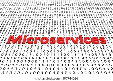 microservices in the form of binary code, 3D illustration