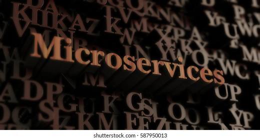 Microservices - Wooden 3D rendered letters/message.  Can be used for an online banner ad or a print postcard.