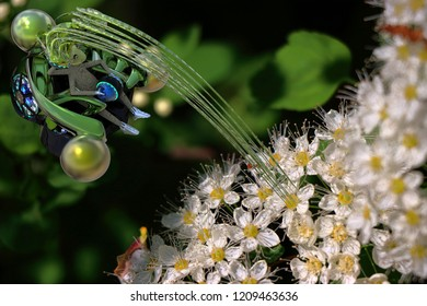 Microspace. Gotcha! Alien visitor in flowers.3D illustrations