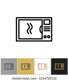 Microwave icon, household food meal cooking symbols, home kitchenware appliances