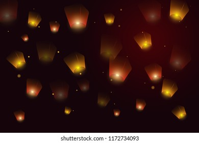 Mid Autumn Festival. Greeting card background with burning lanterns in sky. Banner with glowing Kongming flying lanterns floating in evening sky and place for text.  illustration, banner, postcar
