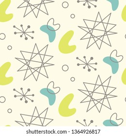 Mid century modern seamless pattern. 1950s vintage style atomic science background, retro illustration.