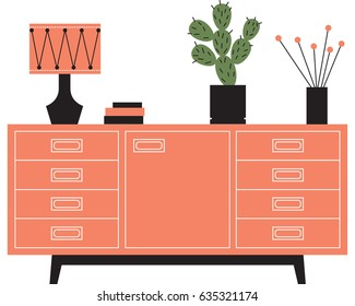 Mid century modern sideboard with retro inspired lamp, prickly pear cacti in a midcentury pot, illustrated in a retro mid century modern style.