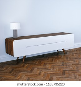 Mid century modern wooden tv stand in white classic interior with wooden floor 3D render