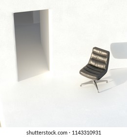 Mid century office chair in white interior 3D render