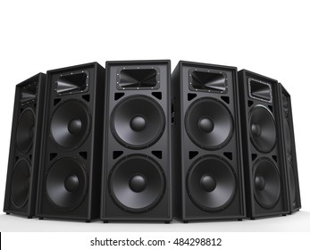 Mid range loudspeakers in a circle - 3D Illustration