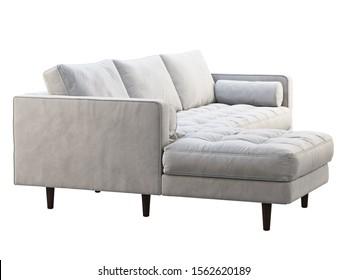 Mid-century corner fabric sofa. Velvet upholstery chaise lounge sofa on white background. Mid-century, Loft, Chalet, Scandinavian interior. 3d render