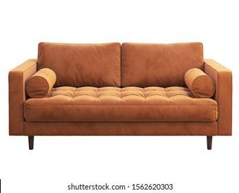 Mid-century two-seat fabric sofa. Velvet upholstery two-seat sofa on white background. Mid-century, Loft, Chalet, Scandinavian interior. 3d render