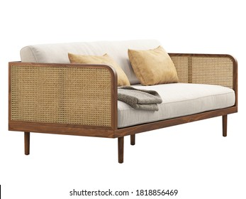 Mid-century wooden sofa with blanket and pillows. Sofa with woven cane armrest and back on white background. Mid-century, Loft, Scandinavian interior. 3d render