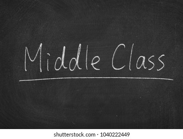 Middle Class concept words on a blackboard background