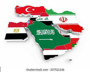 middle east 3d map with state flags