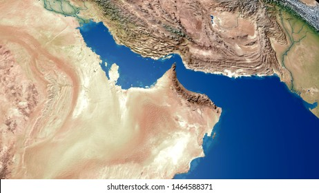 Middle east Arabian Gulf Map Persian Gulf Map 3D rendering