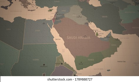 middle east countries map. 3d rendering of vintage continental world map