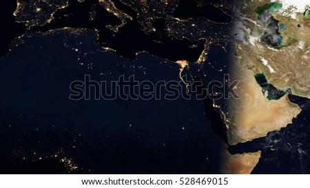 Middle East North Africa Satellite Map Stockillustration 528469015 ...