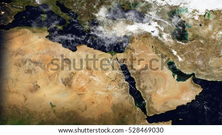 Middle East North Africa Satellite Map Stockillustration 528469030 ...
