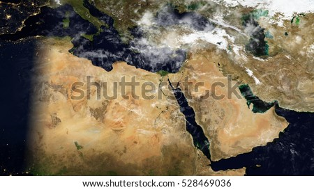 Middle East North Africa Satellite Map Stock Illustration 528469036