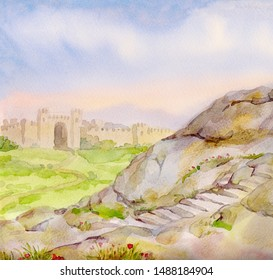 Middle East past valley field land stone rock road jew Jericho country blue sky scene in vintage art graphic picture style. Holy place of biblic Jaffa israeli King David built temple urban scenic view