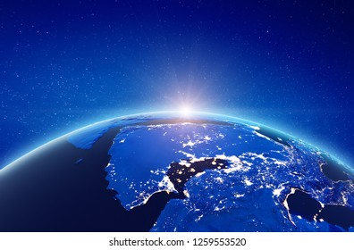 Middle East - Persian gulf. Elements of this image furnished by NASA. 3d rendering