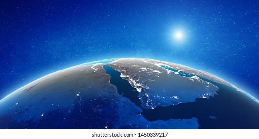 Middle East from space. Elements of this image furnished by NASA. 3d rendering