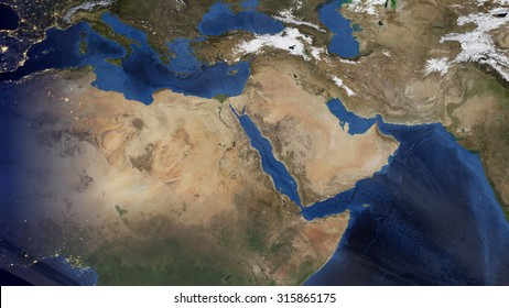Middle Eastern Morning Space View (Elements of this image furnished by NASA)